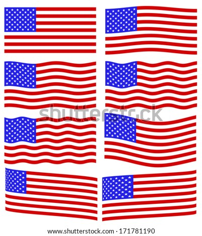 Flag collection of the United States of America - stock photo