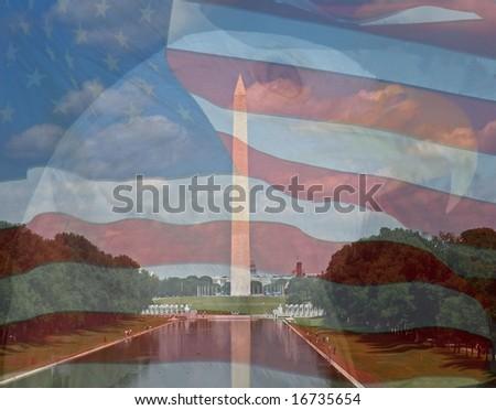 Flag, Eagle, Washington Monument. Composite of three photos taken by the author. - stock photo