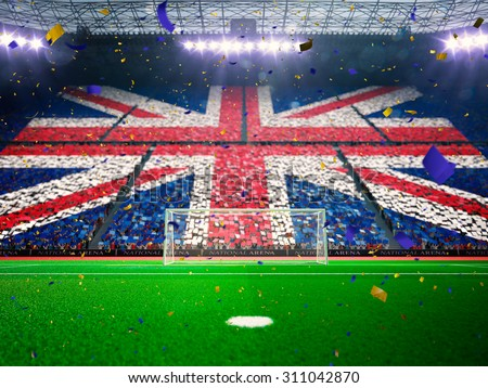 Flag England of fans! Evening stadium arena soccer field championship win! Confetti and tinsel - stock photo