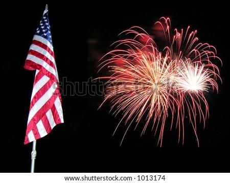 Flag Fireworks 3 - stock photo