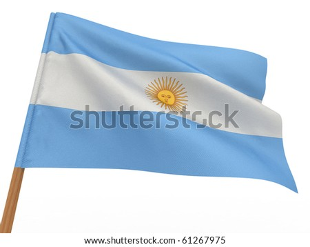 flag fluttering in the wind. Argentina. 3d - stock photo