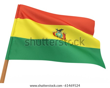 flag fluttering in the wind. Bolivia. 3d - stock photo