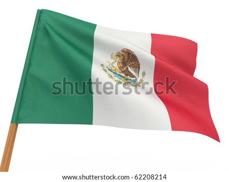 flag fluttering in the wind. Mexico. 3d - stock photo