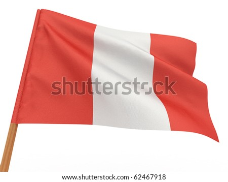 flag fluttering in the wind. Peru. 3d - stock photo