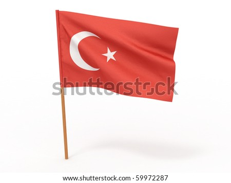 flag fluttering in the wind Turkey. 3d - stock photo