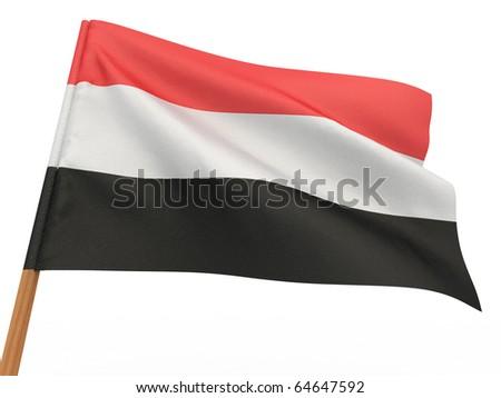 flag fluttering in the wind. Yemen. 3d - stock photo