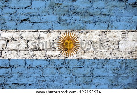 flag from Argentina painted on a stone wall ; participant at the soccer games in Brazil  - stock photo