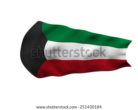 Flag grunge in the wind of Kuwait with waves