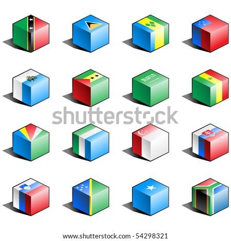 Flag icon set (part 10)Saint Lucia, Samoa, San Marino, Sao Tome and Principe, Saudi Arabia, Senegal, Seychelles, Sierra Leone, Singapore, Slovakia, Qatar, Solomon islands, Somalia, South Africa - stock photo