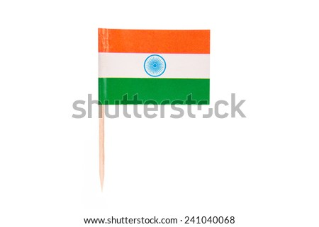 Flag India.Paper Indian flag with clipping path.Isolated on white background - stock photo