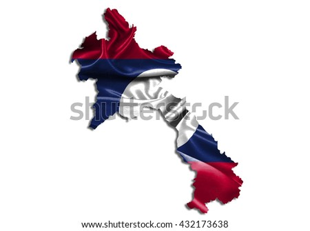 Flag map-laos country on white background. - stock photo