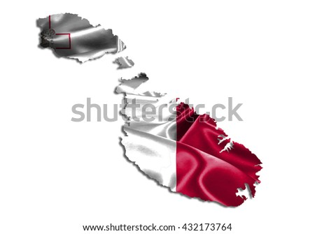 Flag map-malta country on white background.