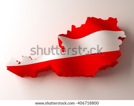 Flag map of Austria on white background. 3d illustration. - stock photo