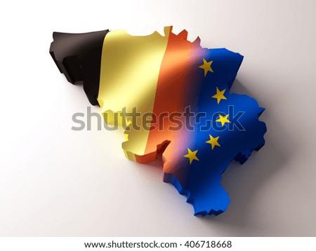 Flag map of Belgium and European Union on white background. 3d illustration. - stock photo
