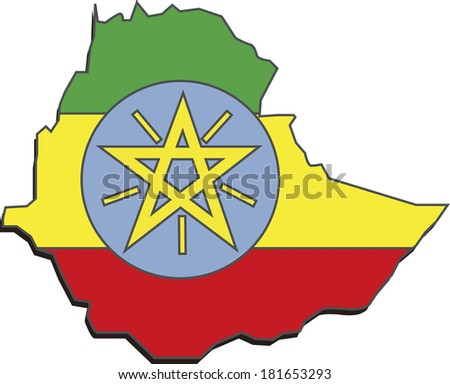 Flag map of Ethiopia
