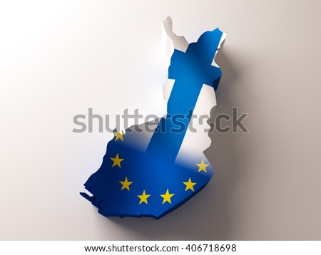Flag map of Finland and European Union on white background. 3d illustration. - stock photo