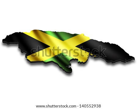 Flag map of Jamaica in perspective. Waving Jamaican flag clipped in country shape. - stock photo