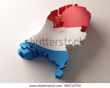 Flag map of Netherlands on white background. 3d illustration. - stock photo
