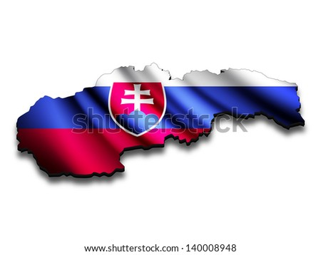 Flag map of Slovakia in perspective. Waving Slovakian flag clipped in country shape.