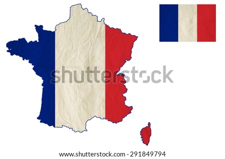 Flag map of the France with vintage old paper, isolate on white with clipping path - stock photo