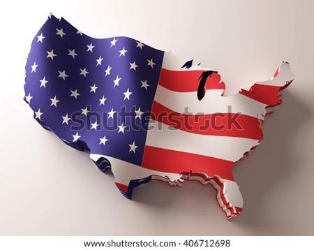 Flag map of USA on white background. 3d illustration. - stock photo