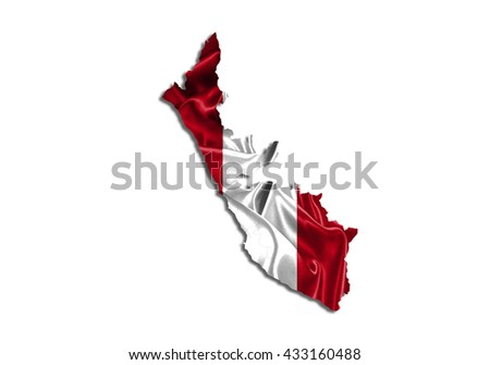 Flag map-peru  country on white background. - stock photo
