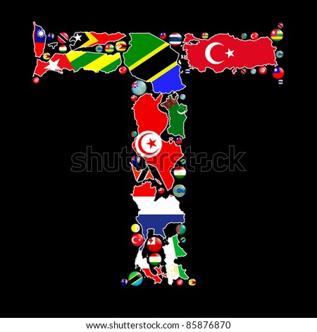 Flag maps and flag badges of all the countries in the world starting with the letter T make up the letter T. - stock photo