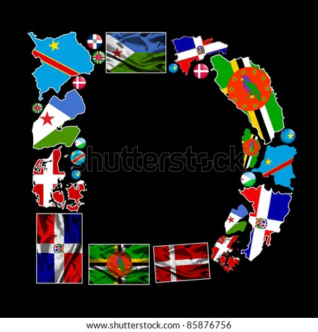 country that starts with the letter d flag maps flag badges all countries stock illustration 10725