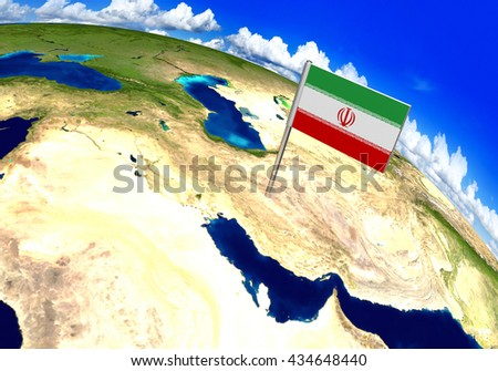 Flag marker over country of Iran on world map 3D rendering, parts of this image furnished by NASA - stock photo