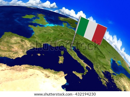 Flag marker over country of Italy on world map 3D rendering, parts of this image furnished by NASA - stock photo