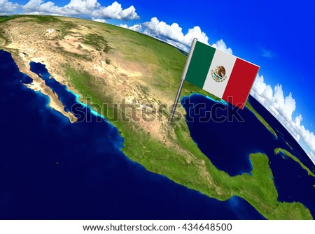 Flag marker over country of Mexico on world map 3D rendering, parts of this image furnished by NASA - stock photo