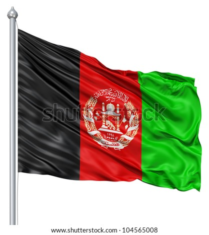 Flag of Afghanistan with flagpole waving in the wind against white background