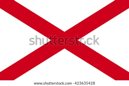 Flag of Alabama is a state located in the southeastern region of the United States - stock photo