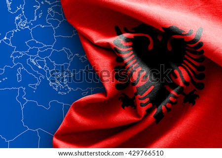 Flag of Albania on map background