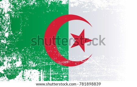 Flag of algeria peoples democratic republic of algeria wrinkled dirty spots can be