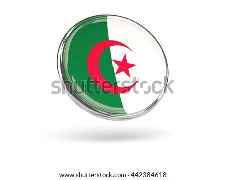 Flag of algeria. Round icon with metal frame, 3D illustration - stock photo