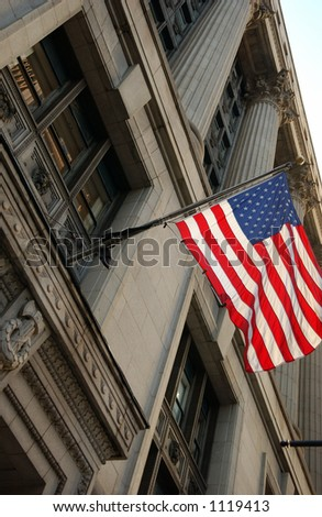 Flag of America outside County Building in Chicago - stock photo