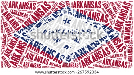 Flag of American state - Arkansas. Word cloud illustration. - stock photo