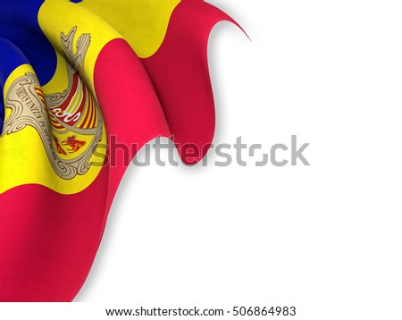 Flag of Andorra close up while waving over a white background-3d rendering