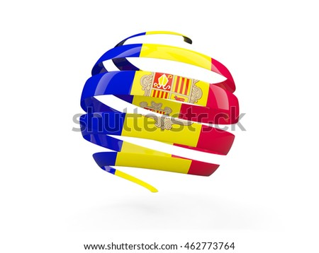 Flag of andorra, round icon isolated on white. 3D illustration