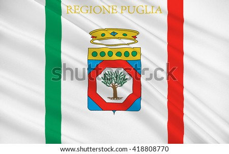 Flag of Apulia is a region of Italy - stock photo