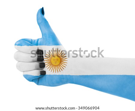 Flag of Argentina on female's hand - stock photo