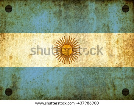 Flag of Argentina painted on a rusty plate with screws, aged by time-3d illustration - stock photo