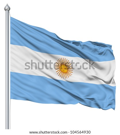 Flag of Argentina with flagpole waving in the wind against white background