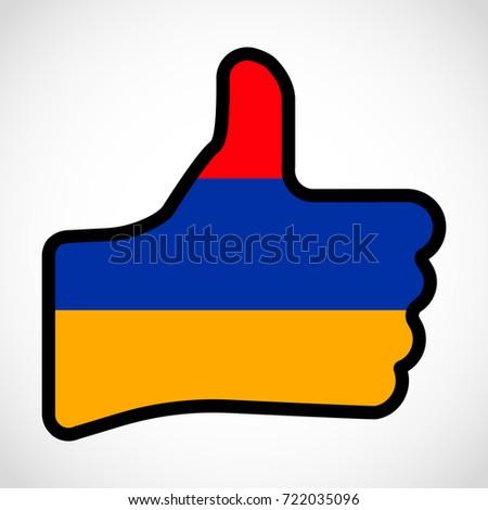 Flag Armenia Shape Hand Thumb Up Stock Illustration 722035096