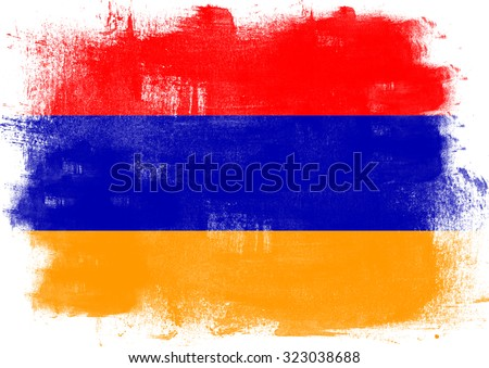 Flag of Armenia painted with brush on solid background,