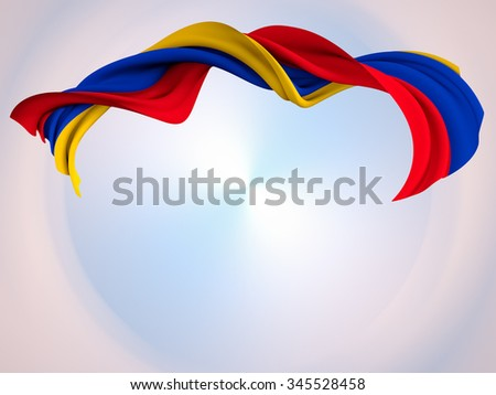 Flag of Armenia shaped by the wind over an abstract background.