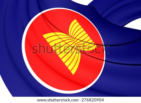 Flag of ASEAN. Close Up. 3D. - stock photo