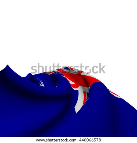 Flag of Australia silky,  fantastic close up shot ,masterfully folded  and resting on a white background-3d rendering - stock photo
