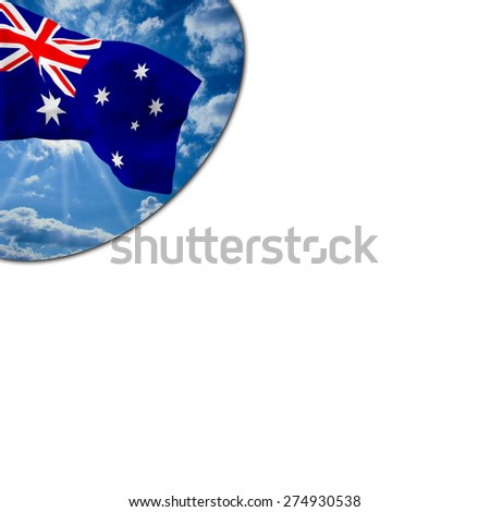 Flag of Australia  waving in the blue sky with white clouds in a porthole on a white background - stock photo